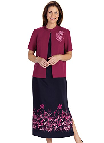 AmeriMark Women's Border Print Jacket Dress 16 Misses / Burgundy/Black
