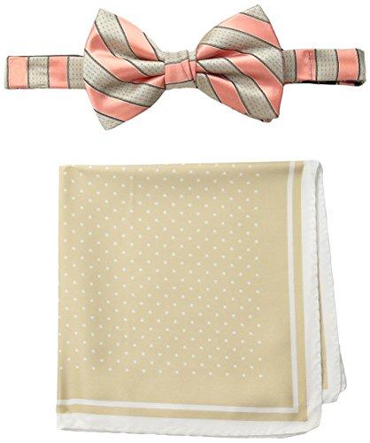 (Steve Harvey Men's Satin Stripe Woven Bowtie and Dot Pocket Square, Ecru, One)