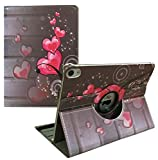 Ipad Cover case 360 Degrees Rotating Stand Leather Magnetic Smart Case Ipad Pro 9.7' (2016 Release) Bonus Screen Protector, Stylus Heart shap Pink Design