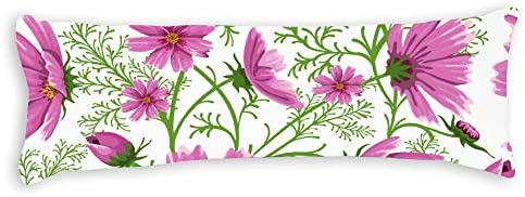 Fhdang Decor Roze Bloemen Body Kussensloop Zacht Katoen Machine Wasbaar met Rits ZwangerschapZwangerschap Kussensloop