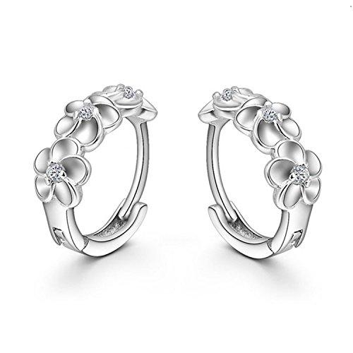 Price comparison product image Sannysis Fashion Women Silver Flower Plated Crystal Rhinestone Stud Earrings ¡