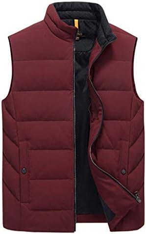 TXC- コットンベスト冬のメンズ厚手のベストノースリーブジャケット大型マルチポケットアウトドアベストショルダーコート 保温する (Color : Wine red, Size : Xl)