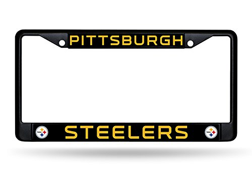 Rico Industries NFL Pittsburgh Steelers Standard Black Chrome License Plate Frame
