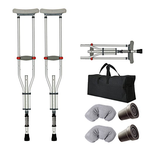 (Crutch Elderly Disabled Armpit Single Double Crutches Aluminum Alloy Non-slip Walker,FoldingSpringStyle-2PCS)