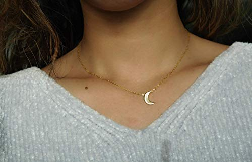(Gold Crescent Moon Choker - Gold Necklace - Short Necklace - Gold Choker Necklace - Dainty necklace - Moon Necklace - Tiny Moon Necklace - Waning Moon - Waxing)