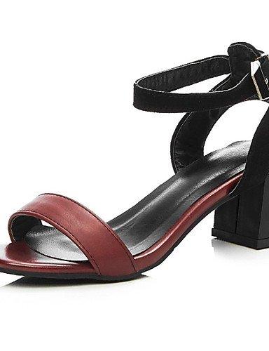 LFNLYX Zapatos de mujer-Tacón Robusto-Tacones-Sandalias-Boda / Vestido / Casual / Fiesta y Noche-Semicuero-Negro / Marrón Brown