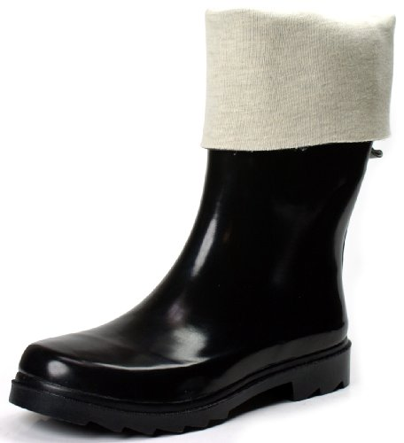 Color Polka Women Wellies Ownshoe Dots Rubber Black Dots Calf Mid Rainboots F7Wqq01Z