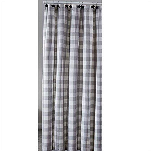 WICKLOW Dove Gray, Winter White Check Fabric Shower Curtain by Park Designs