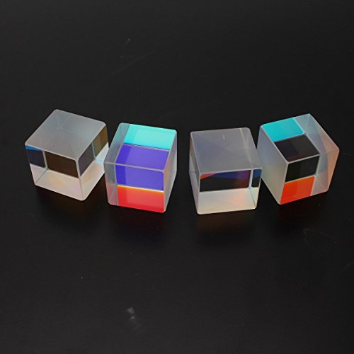 4pcs Cube Prism Optical RGB Combiner Splitter Physics Science Lab Teaching (Optical Cube)