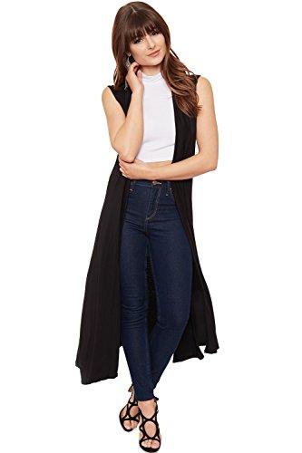 Sleeveless Long Vest (WearAll Women's Long Maxi Open Sleeveless Cardigan - Black - US 8-10 (UK 12-14))