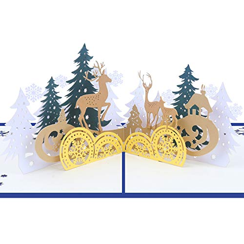 (3D Pop Up Handmade Christmas Gift Cards with Mailable Envolope Snow Tree Elk Deer Design New Year Holiday Card for Friends Family)