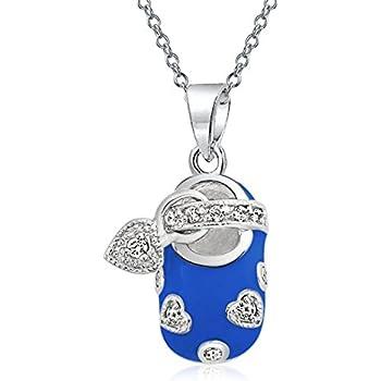 AFFY Jewelry CZ Heart Pink Enamel Mary Jane Baby Shoe Pendant in 925 Sterling Silver