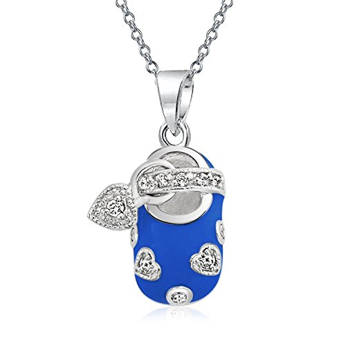 Baby Shoe Charm Pendant Necklace For New Mother Women Blue Enamel Cubic Zirconia CZ Heart Engravable 925 Sterling Silver