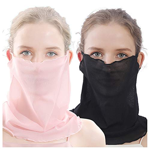 Uaussi 2 Pack Women Summer Face Scarf Mesh Ultra-Thin Mask UV Blocking Sun Protection for Neck (Best Football Neck Protection)