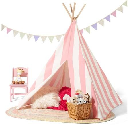 Kids Teepee Play Tent Cotton Canvas Indoor or Outdoor Playho