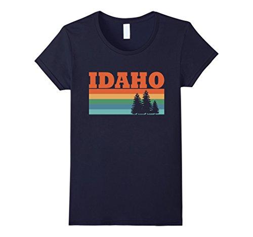 Womens Idaho Retro Trees And Forest T Shirt Idaho Shirt Funny Small Navy