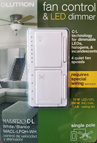 Lutron Maestro Fan Control and Light Dimmer for LEDs, Incandescent and Halogen, Single-Pole, MACL-LFQ-WH, White (Ceiling Lights Dimmer)