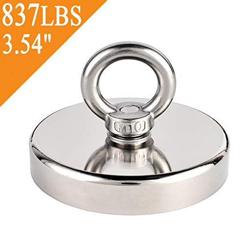 Uolor 837LBS (380KG) Super Powerful Neodymium Fishing Magnet, N52 Magnetic Grade Round Neodymium Magnet Rare Earth Magnet with Eyebolt Great for Magnet Fishing and Retrieving in River, Diameter 3.54