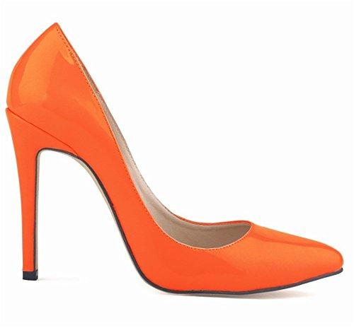 11 CM Pointu Orange Talons Cuir Aiguille Vernis Femme PU wealsex Talon Escarpins Bout UaZqqwzR
