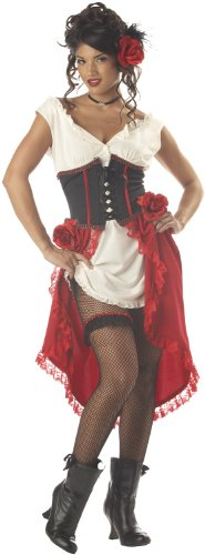California Costumes Women's Cantina Gal Saloon Can Can Senorita S Ivory And Red And -