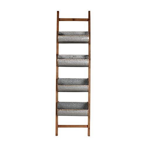 Kate and Laurel Pothos Wood and Metal Leaner Storage Bin Ladder, Rustic Brown Country Ladder