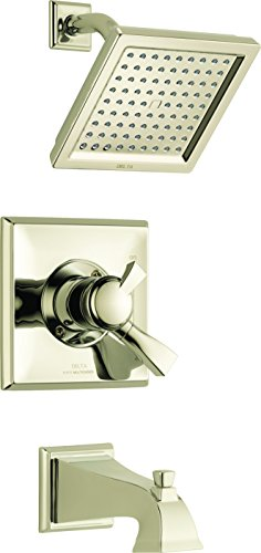 Delta Faucet Dryden 17 Series Dual-Function Tub and Shower Trim Kit with Single-Spray Touch-Clean Shower Head, Polished Nickel T17451-PN (Valve Not Included)