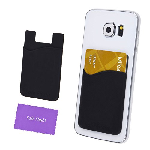 Credit Card / ID Card Holder - Can be attached to almost any Phone - Carry Essential Cards with your Phone - Silicone Material, cards will not fall out - with Safe Flight Cloth and Retail Package