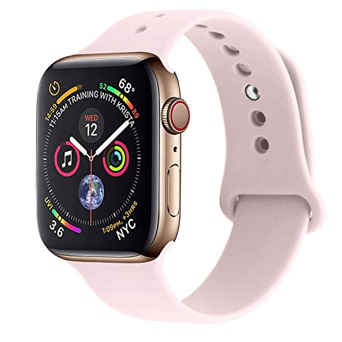 (RUOQINI Compatible with Apple Watch Band 42mm 44mm,Sport Silicone Soft Replacement Band Compatible for Apple Watch Series 4/3/2/1 [M/L Size - Pink Sand])
