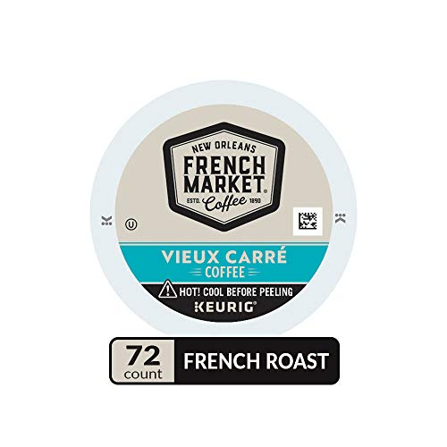 French Market Coffee, Vieux Carré Blend, Single Serve Coffee K-Cup Pods, Dark Roast, 12 Count (Pack of 6)