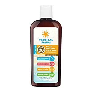 All Natural SPF 30 Water Resistant Sunscreen by Tropical Sands, Reef Safe Zinc Oxide Sunscreen