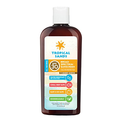 All Natural Biodegradable Sunscreen (All Natural SPF 30 Sunscreen, Coconut Scent, Biodegradable, Reef Safe by Tropical Sands, Water Resistant Great for Snorkeling, 8 fl oz)