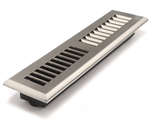 Accord APFRSNL212 Plastic Floor Register with Louvered Design, 2-Inch x 12-Inch(Duct Opening Measurements), Satin Nickel Finish - 12 X 12 Floor