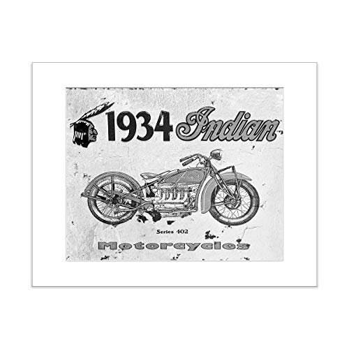 (Vintage Indian Motorcycle Photo 5x7 Matted Masculine Art Print)