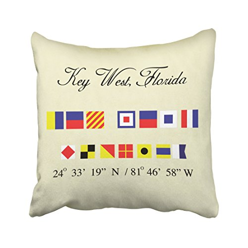 Accrocn Square Throw Pillow Covers Key West Florida Nautical Signal Flag Pillowcases Polyester 18 X 18 Inch With Hidden Zipper Home Sofa Cushion Decorative Pillowcase (C-west Body)
