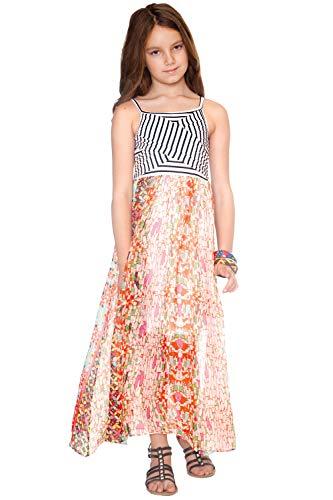 - Truly Me, Big Girls' Sleeveless Spaghetti Strap Striped Knit Top with Print Combo Maxi Dress, Size 7-16 (Orange Multi, 7)