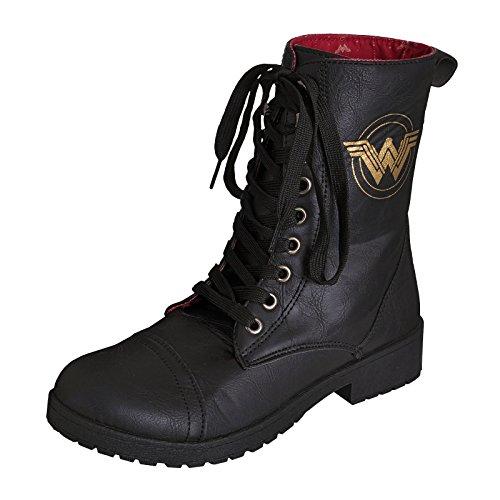 Wonder Woman Ladies Boots Boots Logo DC Comics Black Black FP1iKDX