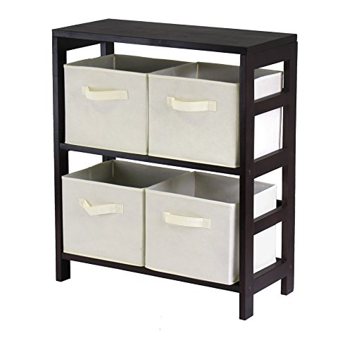 Luxury Home Capri Brown Wood 2-section M Storage Shelf with 4 Foldable Beige Fabric Baskets by Luxury Home