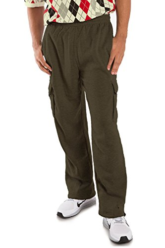 - Vibes Proactive Men's Olive Fleece Cargo Drawstring Pants Relax Fit Open Bottom Drawstring Size 2XL
