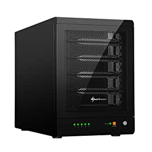 Sharkoon RAID-Station - Caja de disco duro (Indicadores LED, diámetro del ventilador: 120 mm, USB 3.0), negro