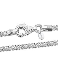 "925 Sterling Silver 2.5 mm Diamond Cut Popcorn Coreana Chain Necklace 16"" 18"" 20"" 22"" 24"" in"