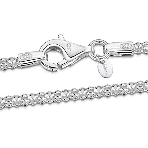 Amberta 925 Sterling Silver 2.5 mm Diamond Cut Popcorn Coreana Chain Necklace Length 20