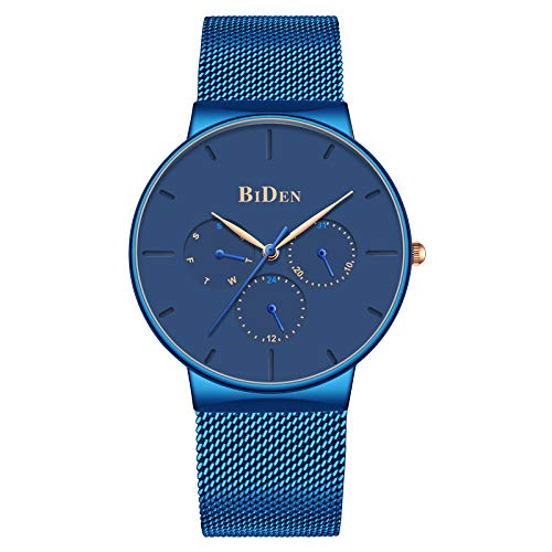 Watches Men Classic Sport Waterproof Quartz Analog Watch Fashion Stainless Steel Wrist Watches with Chronograph Date Blue