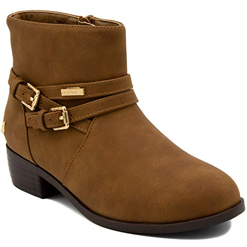 Leather Boots For Girls (Nautica Kids Girls Youth Ankle Bootie with Side Buckle and Zipper, Dress)