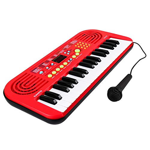 M SANMERSEN Toys for 3 4 5 6 Year Old Girls, Kids Piano Multifunction Portable Electronic Keyboard Musical Early Learning Educational Toy 3-6 Year Old Girl Xmas Gifts Red
