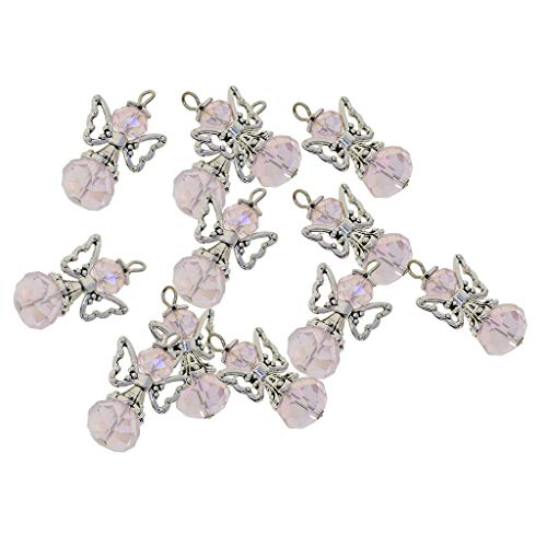 - Fenteer 12 Pieces Alloy Filigree Hollow Out Angel Wings Charms Pendant with Crystal Glass Beads Dangle Charm Pendants Jewelry DIY Crafts Bulk - Pink