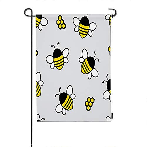 HGOD DESIGNS Bee Garden Flag,Cartoon Flying Bee and Honeycomb Pattern Welcome Decorative Garden Flags Cotton Linen Waterproof for Garden Banner 12