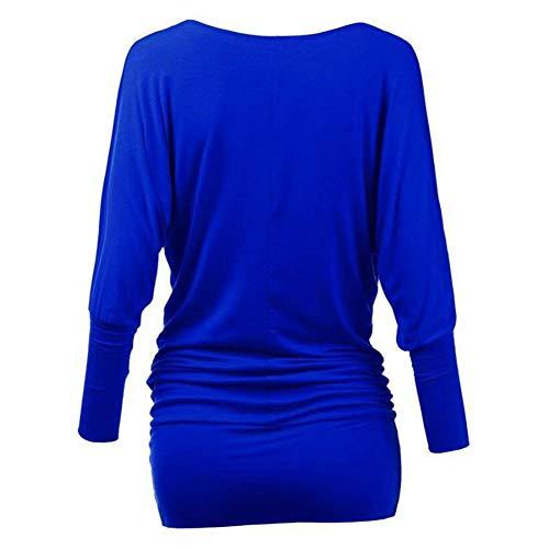 O Donna Longshirt Collo Eleganti Sweatshirts Tunica Ragazza Monocromo Camicetta Lunghe Relaxed Moda Blau Casual Maniche Primaverile Autunno Felpe Accogliente Basic 0dd8rqfw