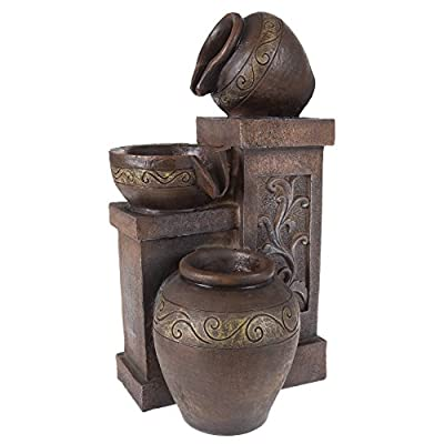 "Pure Garden 50-203 Tabletop Water Fountain - DURABLE DESIGN - Enjoy your house, work or deck décor without worry. Made from sturdy polyresin material, this fountain with decorative jugs is lightweight and durable for longer lasting use. LOW MAINTENANCE AND EASY SET UP- Pure Garden water fountains require no additional plumbing, stressful setup, or upkeep. Including a UL listed pump with 42 gallons per hour maximum flow, all you need to do after assembly is fill it with the proper amount of water, and plug it in to a standard electrical outlet, and you are ready to enjoy the delightful sounds of nature. PRODUCT DETAILS - Fountain dimensions: 16.5"" H x 8.5"" W x 3.5"" L. Material: Polyresin. Weatherproof. Pump Included. Adjustable Valve. Voltage: 120V. Wattage: 2W. Certifications and Listings: UL. Prelit: 2 LED lights. Cord Length: 59"" - patio, fountains, outdoor-decor - 41fo1NI77zL. SS400  -"