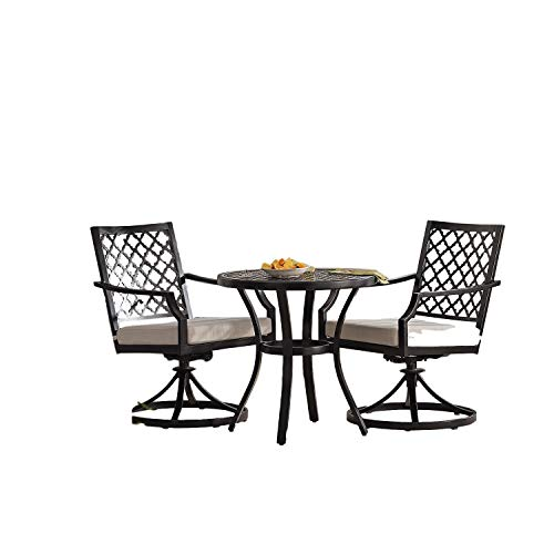 STS SUPPLIES Cushioned Bistro Patio Set Outdoor Metal Swivel Armchair Table Outside Round Garden Porch Yard Set of Three Furniture & eBook by Easy2Find