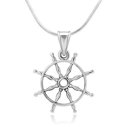 925 Sterling Silver Navy Sailor Ship Wheel Open Seas Pendant Necklace, 18 inches ()
